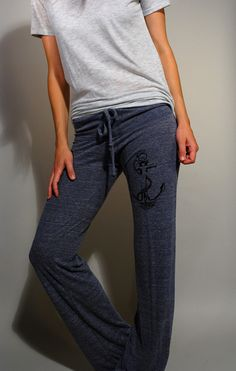 Screen Printed Anchor Women's Eco-True Navy Lounge Pant- nautical- sweats- blue