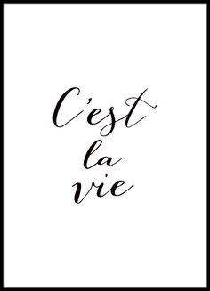 Plakat mit französischem Text, quote in Schwarz-Weiß.