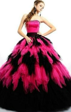 Layered Pink and Black Wedding Dress Quince Dresses 31bd6d83a5fb