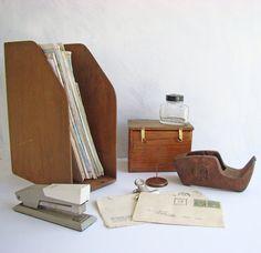 Vintage Desk Accessories, Wood Magazine File Organiser, Index Card Box, Bear Tape Dispenser, Receipt Spike, Parker Ink Bottle, Velos Stapler by AboutThePlace