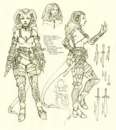 Character design sheet for a Tiefling rogue, also 4th ed. D&D. (Eladrin Paladin from the same group) (Epic Battle!: Pencils, Inks, & Color) Many of the pieces from this gallery are availabl...