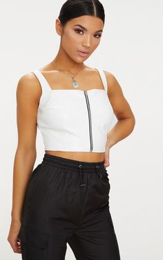 f45c90d5c6 White Faux Leather Zip Front Crop Top Red And White