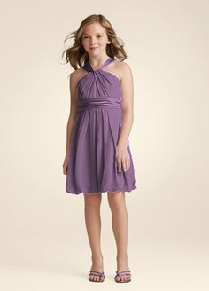 Youthful and fun, this crinkle chiffon and charmeuse short dress is perfect for the Junior Bridesmaid. Y-neckline gives this dress a modern twist and adds interest. Soft chiffon drapes beautifully into a bubble hem, while the charmeuse adds a touch of shine to the look. Coordinates beautifully with any of our chiffon or charmeuse bridesmaid dresses. This style features an adjustable fit for added flexibility and comfort with fewer alterations. Fully lined. Back zip. Imported ...