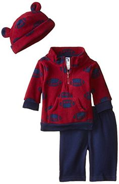 Mock neck, half-zip shirt styling for easy on/off dressing Pants feature a gentle elastic waistband for comfort Adjustable cuff on cap Gerber Baby Boys' 3 Piece Micro Fleece Top Cap and Pant Set, Football, 24 Months