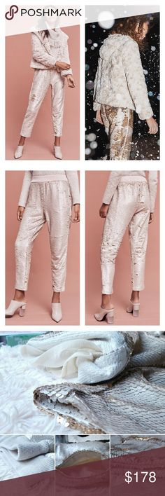 """NWT Anthropologie Sequin Shift Joggers All-over sequins makes a showstopping statement on these chic, heel-ready joggers. From Hei Hei. Matte cream pearl color on one side and rose gold on the other!! Lined so they are comfy and can be dressed up or down easily! SO COOL. And sold out! 💎Polyester, rayon 💎Cropped, tapered leg 💎Side pockets 💎Pull-on styling 💎Hand wash 💎Imported 💎25.5""""L Anthropologie Pants Track Pants & Joggers"""
