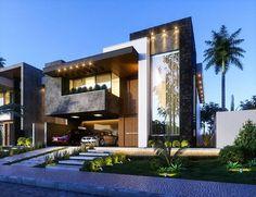 45 luxury modern house exterior design ideas – My Ideas Modern House Facades, Modern Architecture House, Modern House Plans, Architecture Design, Luxury Modern Homes, Luxury Homes Dream Houses, Modern Mansion, Bungalow House Design, House Front Design
