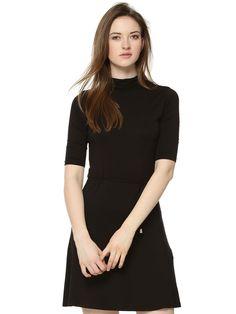 7fa5c1c20a Buy KOOVS High Neck Tie Detail Skater Dress For Women - Women s Black Skater  Dresses Online in India