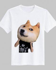 3D doge dog t shirt for men white short sleeve tee XXL-