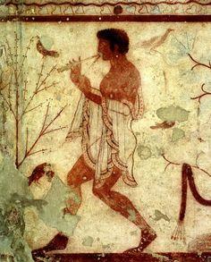 Tarquinia  Necropoli di Monterozzi – Tomba del Triclinio  Suonatore di doppio flauto (diaulos) V sec. a.C. Museo Nazionale di Tarquinia