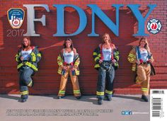 FDNY 2017 calendar   The female cover features firefighter Jackie-Michelle Martinez, paramedic Marilyn Arroyo, firefighter Jennifer Quinones and EMT Michelle Campbell.