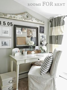 Love this home office nook with the fun gallery wall eclecticallyvintage.com