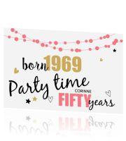 Uitnodiging 50 jaar met ballon en feestelijke tekst Party Time, 50th, Pallet, Happy Birthday, Humor, Happy Aniversary, Happy Brithday, Humour, Palette