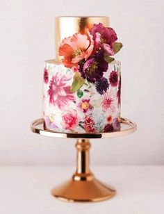 copper wedding cake and stand