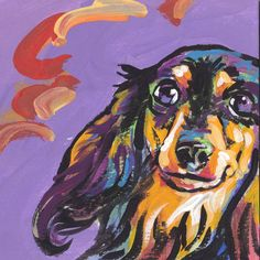 long haired dachshund print of bright pop art Painting colorful dog 8x8