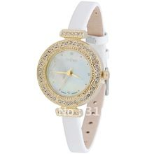 100% Authentic,Korea Brand JULIUS Women's Watch, Quartz Round Crystal Oyster Shell Dial,Leather Watchband JA-589 Free Shipping(China (Mainland))