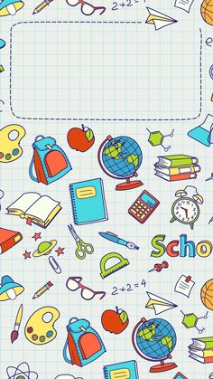 cover - Back to School Powerpoint Background Design, Poster Background Design, Cute Wallpapers, Wallpaper Backgrounds, Iphone Wallpaper, Teacher Wallpaper, Back To School Wallpaper, Kids Background, School Frame