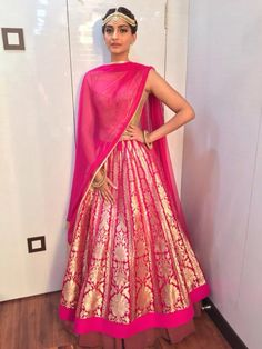 Buy Sonam Kapoor Pink Net & Joya Silk Bollywood Lehenga online in India at best price.Bollywood Style Sonam Kapoor Net and Joya Silk Lehenga In Pink Colour Pink Colour Net and Joya Banarasi Lehenga, Pink Lehenga, Red Saree, Bridal Lehenga, Anarkali, Silk Sarees, Mode Bollywood, Bollywood Lehenga, Bollywood Fashion