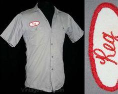 50s Mechanic Style Shirt  Size Small  Reg  1950s by vintagevixen