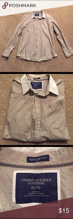 American Eagle Button down Men's American Eagle button down. Cream shirt with white collar. In great condition! American Eagle Outfitters Shirts Casual Button Down Shirts