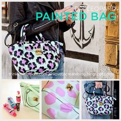 DIY Leopard Painted Bag tutorial by Trinkets in Bloom Gary Baseman, Diy Craft Projects, Fun Crafts, Craft Ideas, Lavender Paint, Color Lavanda, Meme Design, Leopard Bag, Painted Bags