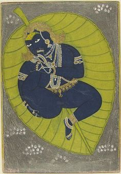 "The Infant Krishna Floating on the Cosmic Ocean: episode from the ""Bhagavata Purana"" (Ancient Stories of the Lord), c. 1840, Harvard Art Museums/Arthur M. Sackler Museum."