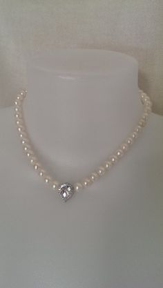 Cream White Genuine Freshwater Pearls necklace by SwamiJewelry, $65.00