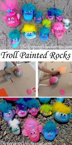 TROLL PAINTED ROCKS with googly eyes