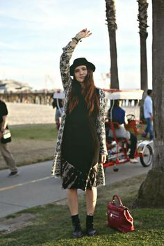 ColorMeNana's blogger wearing Gypsy05 Calf Length Dress while adventuring Venice Beach CA