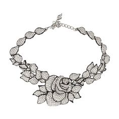 Kenneth Jay Lane Rose Necklace ($1,250) ❤ liked on Polyvore featuring jewelry, necklaces, black, crystal jewellery, rose jewellery, rose jewelry, crystal stone jewelry and pave necklace