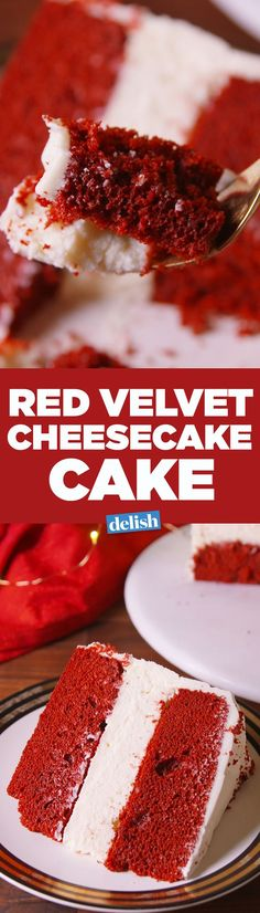 This Red Velvet Cheesecake Cake is two of the best desserts in one. Get the recipe on Delish.com.