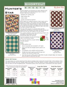 Shortcut Sheets are methods to quickly make units and/or blocks using only a quilting ruler Quilting Rulers, Quilting Tips, Quilting Tutorials, Star Blocks, Quilt Blocks, Sewing Tips, Sewing Hacks, Hunters Star Quilt, Lap Quilts