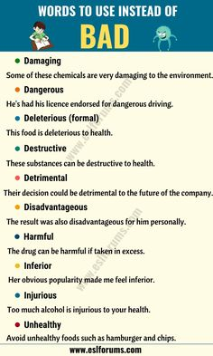 BAD Synonym: List of 16 Synonyms for Bad for ESL Learners English Sentences, English Phrases, Learn English Words, English Study, English Vinglish, English Teaching Materials, English Writing Skills, English Lessons, Teaching English