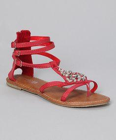 Red Rhinestone Stud Gladiator Sandal #zulily #zulilyfinds