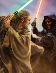 Qui-Gon Jinn versus Darth Maul art by Chris Trevas