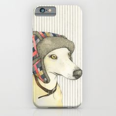Some of my watercolour illustrations are available on plastic iPhone cases from Society6.  Whippet iPhone case.