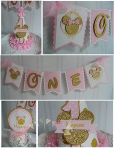 Minnie Mouse pink and gold Smash cake birthday decorations -high chair birthday outfit Minnie Mouse Party Decorations, Minnie Mouse Birthday Decorations, Minnie Mouse First Birthday, First Birthday Party Themes, Minnie Mouse Pink, Minnie Mouse Birthday Party Ideas, 2nd Birthday, Minnie Mouse Cake Topper, Third Party