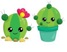 Cartoon Cupcakes, Creative Birthday Cards, Jungle Flowers, Cactus Illustration, Diy Envelope, Image Nature, Cute Funny Baby Videos, Green Theme, Cute Cartoon Animals