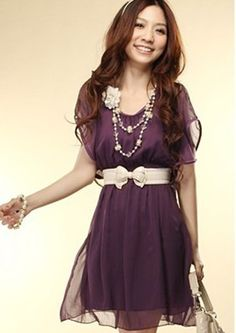 Vestido Lindo de Poliéster de Forma de A-Line de Mangas Cortas de Color sólido para las mujeres (PUPPLE,Un tamaño) | Sammydress.com