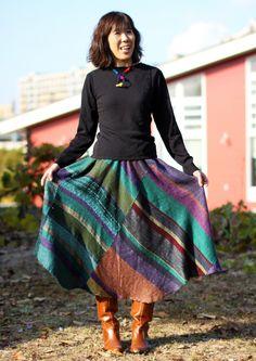 【森のお仕立て講習会】4~6月のご案内 - さをりの森 森の妖精ブログ Love this skirt!  (from SAORI no Mori)