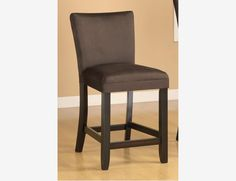 "2 PC Casual Wood Counter Dining Chairs 24"" Stools Chocolate Microfiber"