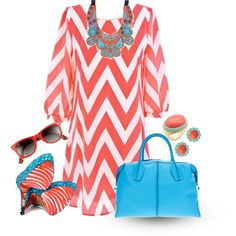 Turquoise and Coral by trinavokes on Polyvore