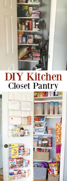 how to turn a closet into a diy kitchen closet pantry by adding shelves and a door rack for storing baking items and kids snacks