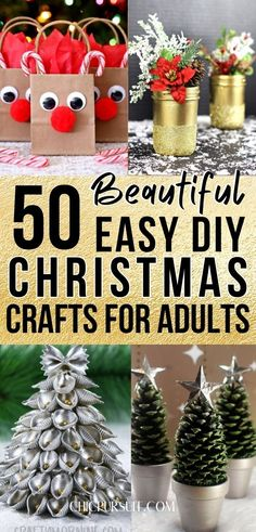 50 Easy DIY Christmas Crafts For Adults & DIY Christmas Decorations | Are you wondering how to make handmade Christmas crafts that actually look good enough to sell? These homemade Christmas crafts to sell & make money are perfect for adults to make, and include ideas such as DIY Christmas ornaments, DIY Christmas wreaths and other projects. #christmas #craftsforadults #diy #christmascrafts #christmascraftsdiy #christmasdecorationsdiy #christmascraftsforadults #christmascraftstosell #crafts Christmas Crafts For Adults, Pinterest Christmas Crafts, Diy Christmas Baubles, Handmade Christmas Crafts, Mason Jar Christmas Crafts, Diy Paper Christmas Tree, Christmas Toilet Paper, Hanging Christmas Tree, Homemade Christmas