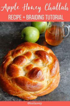 Apple Honey Challah - This fluffy apple-stuffed homemade challah is braided round for Rosh Hashanah. Sweet, fragrant and delicious holiday recipe. | Tori Avey #challah #applesandhoney #roshhashanah #jewishholidays #chagsameach #apples #honey #bakingproject #braidedbread #braiding #shabbat #highholidays #shabbatshalom via @toriavey Kosher Recipes, Apple Recipes, Holiday Recipes, Cooking Recipes, Roshashana Recipes, Challah Bread Recipes, Challah Bread Recipe With Honey, Round Challah Recipe, Cinnamon Bread