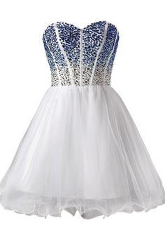 Short Prom Dresses,Sweetheart Homecoming Dresses,Tulle Beaded Prom Gown