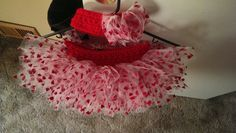 Valentine's tutu and headband I made for my 6-month old grand daughter... I'm so proud of it! I think it's the most beautiful thing I've ever made! Lol