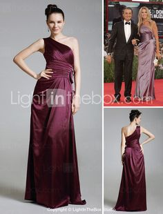 Sheath/ Column One Shoulder Floor-length Charmeuse Bridesmaid/ Wedding Party Dress - USD $ 129.99