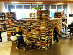 Book fort in the Trondheim library--hey Heather, maybe you could do this with all the leftovers from the book sale???