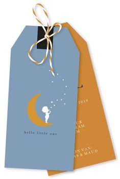 Label geboortekaartje maan en sterren - Abel voor