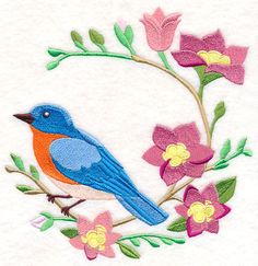 Embroidered quilt block,cushion panel,wall art,embroidery machine,bluebird frees